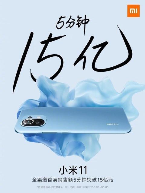 Xiaomi продала 350 тысяч смартфонов Mi 11 за первые 5 минут продаж