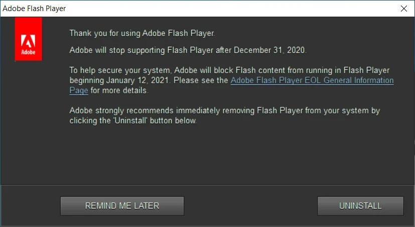 Adobe официально прекратила поддержку Flash Player